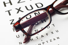 Pair Of Glasses On Opticians Sight Chart. Glasses On Opticians Sight Chart Stock Photo