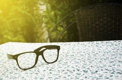 Pair of glasses on table cloth. Background royalty free stock image