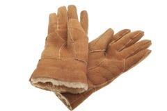 Pair of gloves. Pair of winter sheepskin gloves on white royalty free stock photo