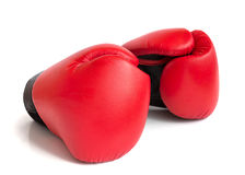 A pair of gloves for boxing. A pair of red gloves for boxing on a white background Royalty Free Stock Images