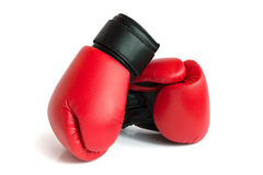 A pair of gloves for boxing. A pair of red gloves for boxing on a white background Stock Images