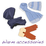Pair of gloves, scarf and cap for woman Stock Photography