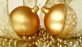 Pair Gold Christmas Ornaments Royalty Free Stock Photo