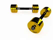 Pair of gold dumbbells, 3D Stock Images