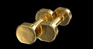 Pair of gold dumbbells stock footage