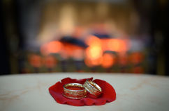 Pair of gold wedding rings on the petal of rose Stock Photo