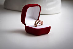 Pair of gold wedding rings in a red velvet box Stock Photos