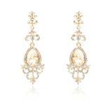 Pair of golden diamond earrings isolated on white Stock Images