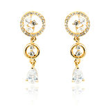 Pair of golden diamond earrings isolated on white Royalty Free Stock Photo