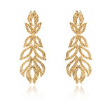Pair of golden diamond earrings isolated on white Stock Photo