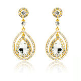 Pair of golden diamond earrings isolated on white Stock Photos