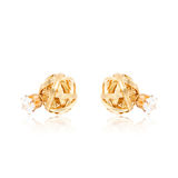 Pair of golden diamond earrings isolated on white Royalty Free Stock Image