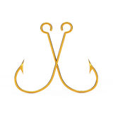 Pair of Golden Fishing Hooks. 3d Rendering Royalty Free Stock Images