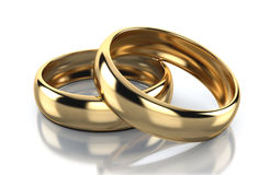 Pair of golden ring isolated on white background Royalty Free Stock Photo