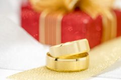 Pair of golden wedding rings Royalty Free Stock Image