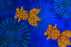 Pair of Goldfish with Lily Pad. In Blue Water Pond Stock Image