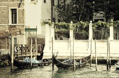 Vintage Gondolas in Evening Light Royalty Free Stock Image