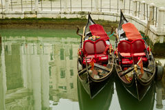 Pair of gondolas in Venice Royalty Free Stock Images