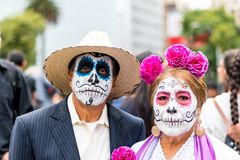 Dead catrina old couple on day of the death festival royalty free stock photography