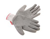 Pair of gray rubber gloves. Stock Image