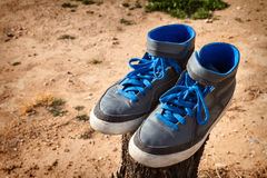 Pair of Gray Shoes Royalty Free Stock Image