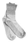 Pair of gray socks. Isolated on a white background Royalty Free Stock Image