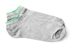 Pair of gray sport socks isolated on white. Background stock photos