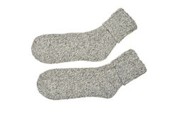 Pair of Gray Warm Winter Socks. Isolated on White Stock Image