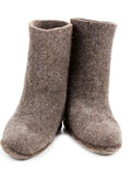 Pair gray woolly lock footwear Royalty Free Stock Photo
