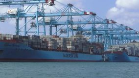 Pair of great containerships of Maersk companyin Algeciras port. Containership loading and downloading its containers, docked in the port of Algeciras in Spain stock video