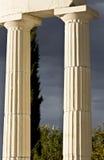 Pair of greek ancient pillars. Of doric order Royalty Free Stock Image