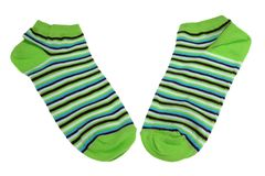 Pair Green, Black, Blue And White Striped Ladies Socks. Pair Green, Black, Blue And White Striped Ladies or Girlish Socks Isolated On White Background Stock Photography