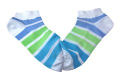 Pair Green And Blue Striped Ladies Socks Stock Photos