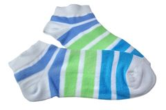 Pair Green And Blue Striped Ladies Socks Royalty Free Stock Photo