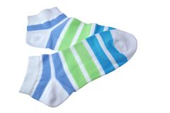 Pair Green And Blue Striped Ladies Socks Royalty Free Stock Image