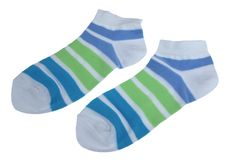 Pair Green And Blue Striped Ladies Socks Royalty Free Stock Photography