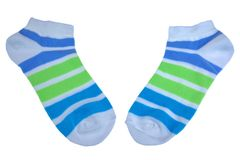 Pair Green And Blue Striped Ladies Socks Royalty Free Stock Photos