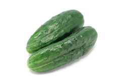 A pair of green cucumbers Stock Photos