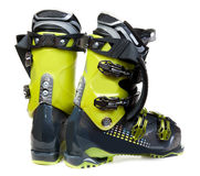 Pair green-dark ski shoe stock photo