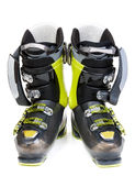 Pair green-dark ski shoe Royalty Free Stock Photography