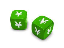 Pair of green dice with yen sign Stock Images