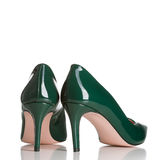 Pair of green female high heel shoes Royalty Free Stock Image