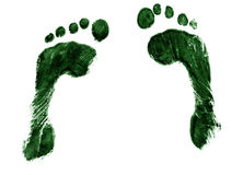 Pair of green footprints Stock Images