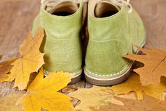 Pair of green leather boots Royalty Free Stock Photos