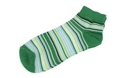 Pair Green  And Magic Mint Striped Ladies Socks Royalty Free Stock Image