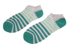 Pair Green  And Magic Mint Striped Ladies Socks Royalty Free Stock Photo