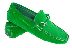 Pair of green men shoes isolated over white Royalty Free Stock Photography