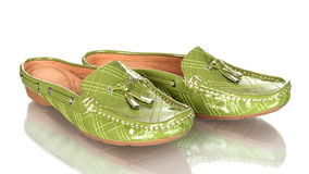 Pair of green moccasins  Royalty Free Stock Photography