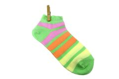 Pair Green, Orange, Yellow and Violet Striped Ladies Socks With Royalty Free Stock Image