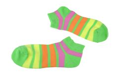 Pair Green, Orange, Yellow and Violet Striped Ladies Socks Stock Image